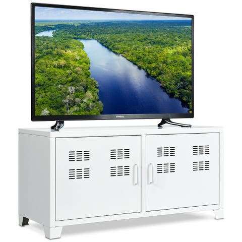 Gymax Entertainment Center TV Stand Two Doors Media Console Cabinet