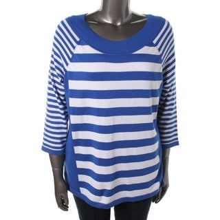 Elementz Womens Plus Sassy Stripes Striped Long Sleeves Pullover Sweater - 3X