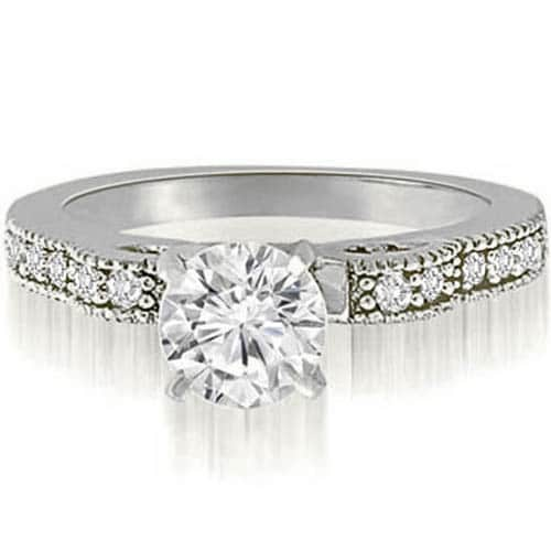 0.90 cttw. 14K White Gold Antique Milgrain Round Cut Diamond Engagement Ring