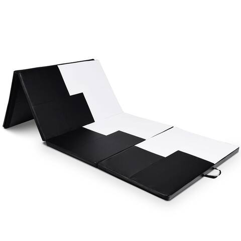 "4' x 10' x 2"" Gymnastics Mat Folding Portable Exercise Aerobics Exercise Mat - Black & White"