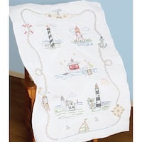 "Stamped White Lap Quilt Top 40""X60""-Lighthouses"