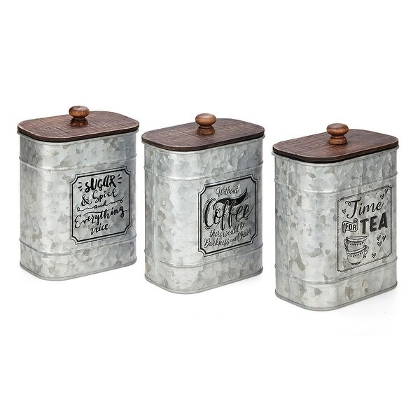 """Set of 3 Brown and Gray Distress Finish Unique Kitchen Jars with Lids 6.5"""" - N/A"""