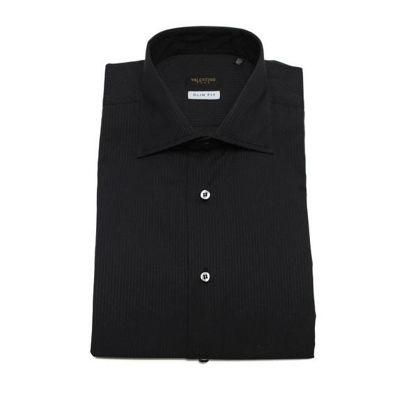 Valentino Men's Slim Fit Cotton Dress Shirt Pinstripe-Black-Black