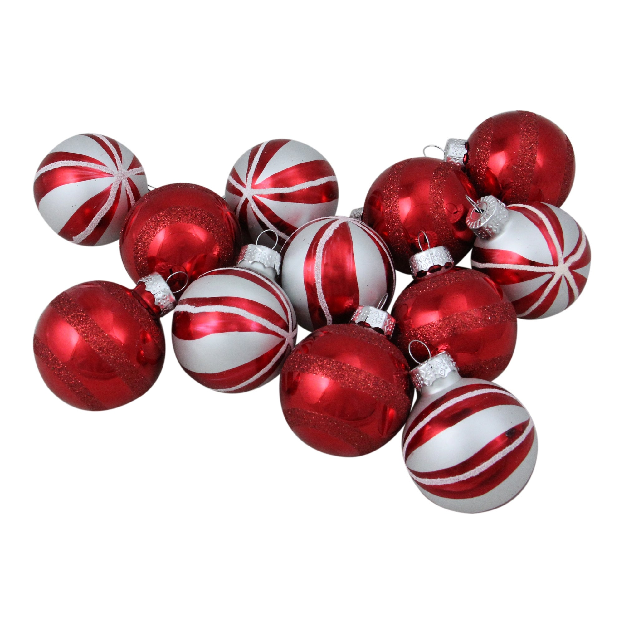 Christmas Ornament Set.12ct Red And White Peppermint Swirl Glass Ball Christmas Ornament Set 1 75 45mm