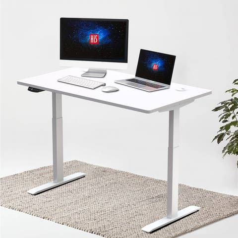 "Hi5 Electric Height Adjustable Standing Desks with Rectangular Tabletop (63""x 27.5"") with 4 Color Options"