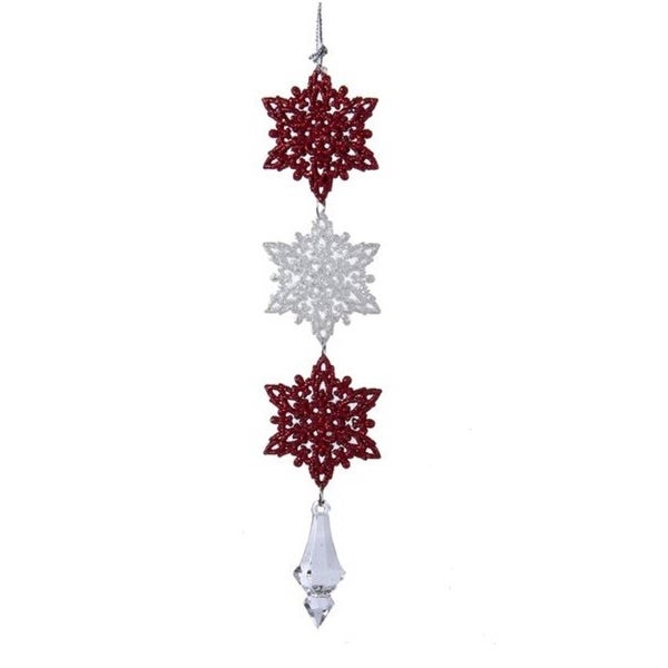 "8.5"" Peppermint Twist Red and White Glitter Snowflakes Christmas Drop Ornament"