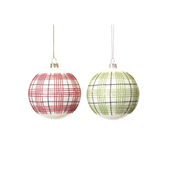 """Club Pack of 12 Eco Country Plaid Glass Ball Christmas Ornaments 4"""" (100mm)"""