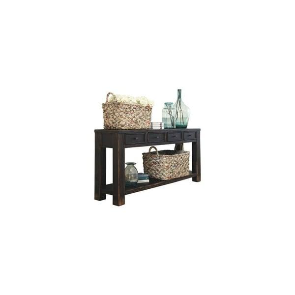 Shop Ashley T Gavelston Black Sofa Table W Antiqued Bronze - Ashley gavelston coffee table