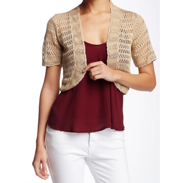 1f58564c60 Shop Eliza J NEW Beige Womens XL Crochet Scallop Trim Open Front Shrug  Sweater 237 - Free Shipping On Orders Over  45 - Overstock - 19436343
