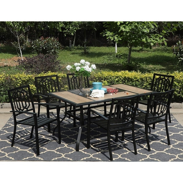 Sophia & William 7 Pieces Patio Dining Set Steel Outdoor Furniture Set with 6 Steel Garden Chairs and 1 Patio Umbrella Table. Opens flyout.