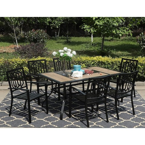 Sophia & William 7 Pieces Patio Dining Set Steel Outdoor Furniture Set with 6 Steel Garden Chairs and 1 Patio Umbrella Table