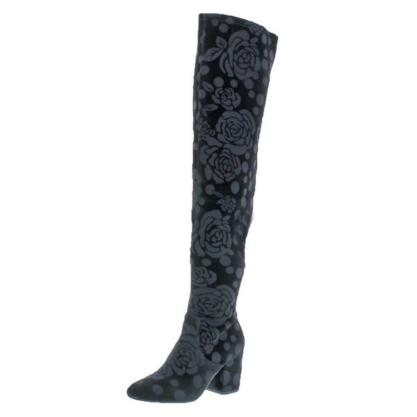 L4L by Lust for Life Womens Andie Over-The-Knee Boots Velvet Block Heel 9dfea477d