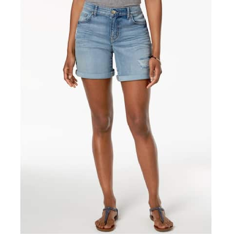 Style & Co Women's Rolled Denim Shorts Anchor Size 8 - Blue
