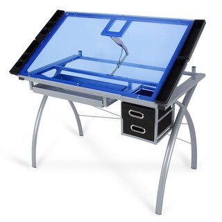 BELLEZE Drawing Art Craft Table with Blue Glass Top and Side Trays/Drawers, Black and Silver