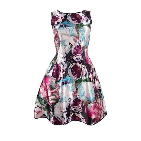 Laundry by Shelli Segal Women's Reversible Fit & Flare Dress - Black Multi