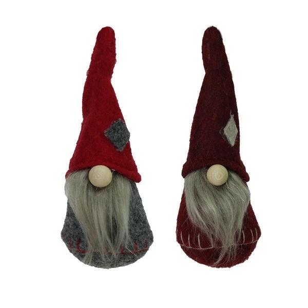 "Set of 2 Gray and Burgundy Santa Christmas Gnomes Ornaments 4.75"" - RED"