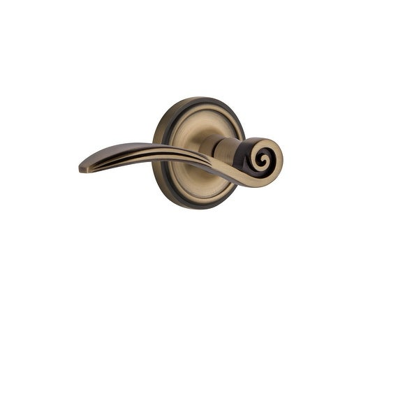 """Nostalgic Warehouse CLASWN_PSG_238_NK_LH Swan Left Handed Passage Door Lever Set with Classic Rose for 2-3/8"""" Backset Doors"""