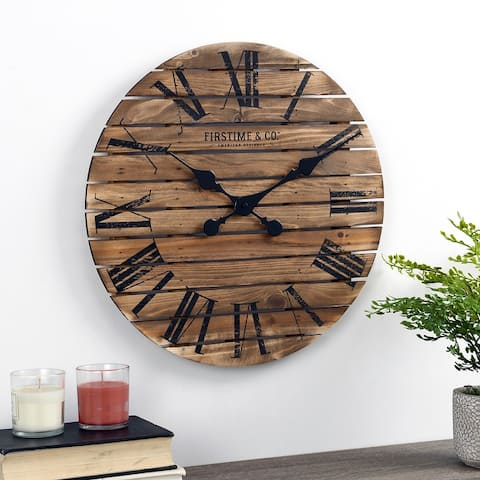 FirsTime & Co.® Shiplap Farmhouse Wall Clock, Wood, 18 x 2 x 18 in, American Designed - 18 x 2 x 18 in