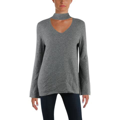 Aqua Womens Choker Sweater Cashmere Bell Sleeves