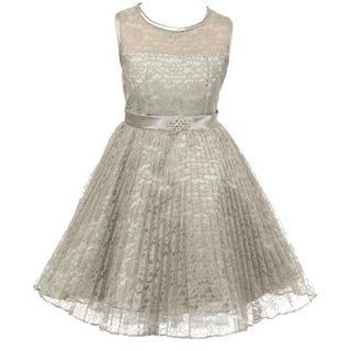Flower Girl Dress Pleated Lace See Through Shoulder Silver GG 3527