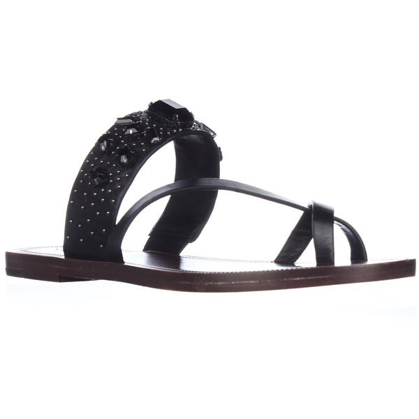 Via Spiga Gwenda Toe Ring Gem Studded Flat Sandals, Black