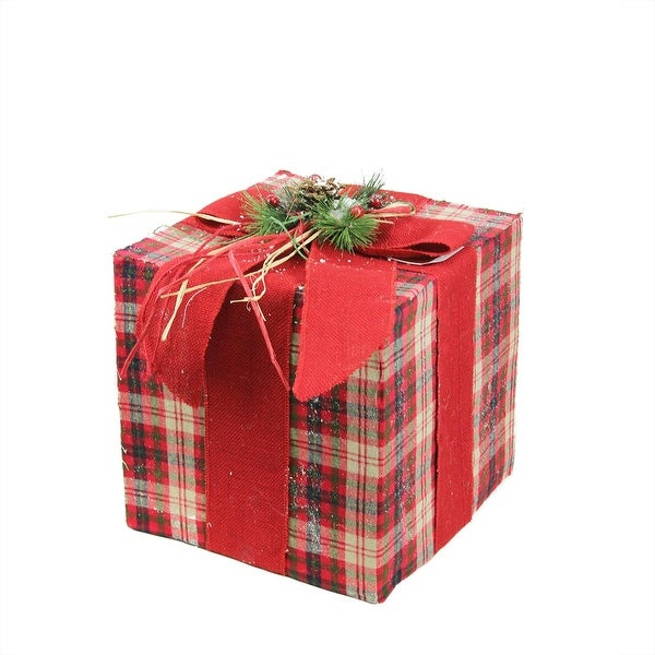 """12.5"""" Square Red, Brown and Green Plaid Gift Box with Pine Bow Table Top Christmas Decoration - RED"""