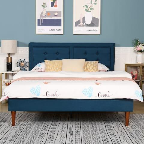 Vecelo Modern Fabric Blue Bedframe with Headboard Queen/Full/Twin Size