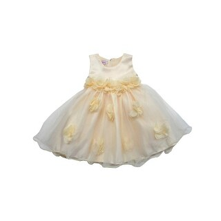 Baby Girls Champagne Organza Pop-Up Floral Embellished Flower Girl Dress