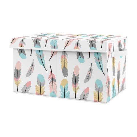 Sweet Jojo Designs Turquoise and Coral Boho Feather Collection Girl Kids Fabric Toy Bin Storage