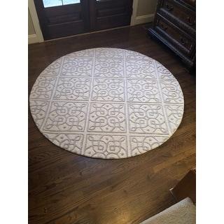 Safavieh Handmade Cambridge Ivory/ Grey Wool Rug - 6' X 6' Round