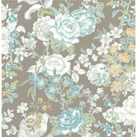 Brewster 1014-001849 Ainsley Grey Boho Floral Wallpaper
