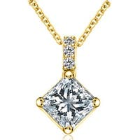 0.28 cttw. 14K Yellow Gold Round and Princess Diamond Basket Solitaire Pendant
