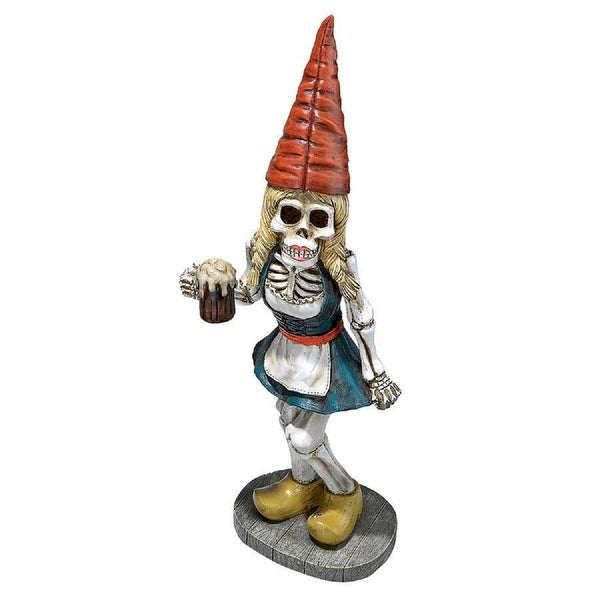"18"" Skeleton Gnome Girl Hand Painted Outdoor Garden Statue - N/A"