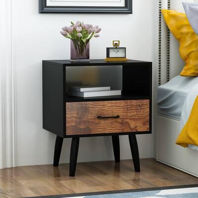 Kerrogee 2-Layer 1-Drawer Distressed Nightstand - Bedside End Table - Black/Wood