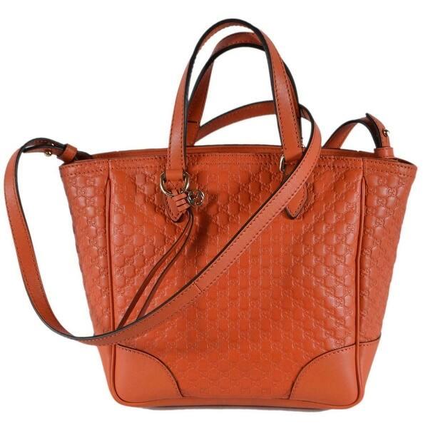 9d0ba0d6 Gucci Women's 449241 Orange Leather Small Bree GG Guccissima Crossbody Bag