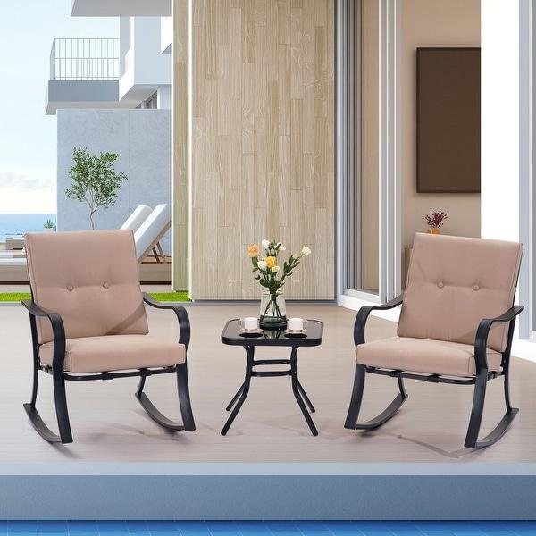 Bonosuki Outdoor 3-Piece Rocking Bistro Set Rocking chair with Coffee Table