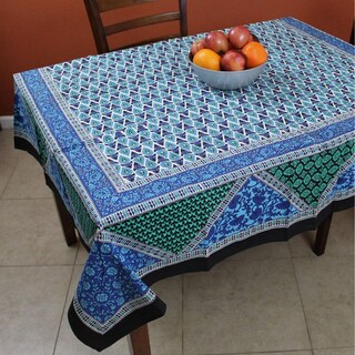 Cotton Floral Geometric Print Tablecloth Square 70x70 inches Blue Green Black - 72 Inches