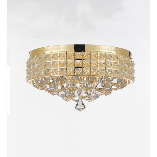 Flush Mount French Empire Crystal Chandelier Crystal Gold