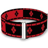 Harley Quinn Diamonds Stripe Split Red Black Red Cinch Waist Belt   ONE SIZE