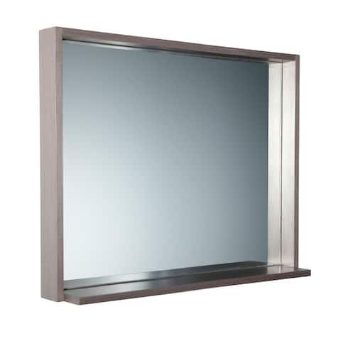 """Fresca Allier 36"""" Gray Oak Mirror with Shelf"""