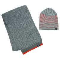 Marc Ecko Men's Striped Beanie and Waffle Weave Scarf Set - One size