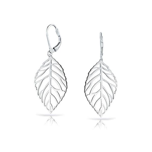 1927684f0aa2e1 Shop Bling Jewelry Large Filigree Leaf Dangle Drop Leverback Earrings  Silver - On Sale - Free Shipping On Orders Over $45 - Overstock.com -  18012502