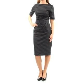 MAXMARA $450 Womens New 1037 Black Striped Slitted Sheath Dress 2 B+B