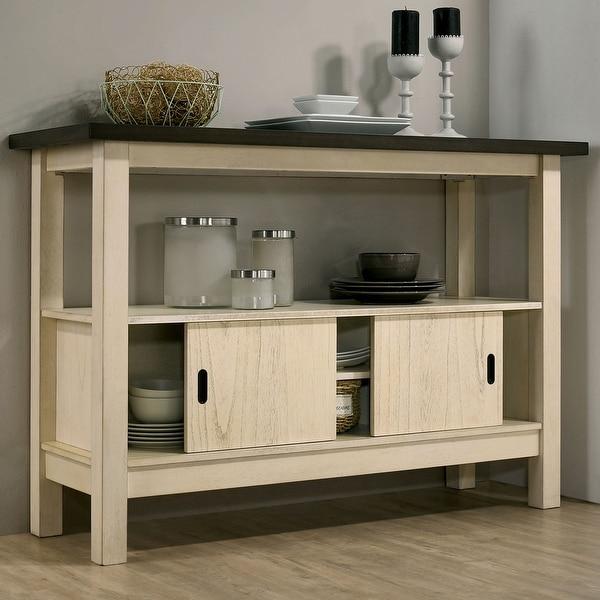 Furniture of America Caduceus Transitional Ivory and Dark Grey Server