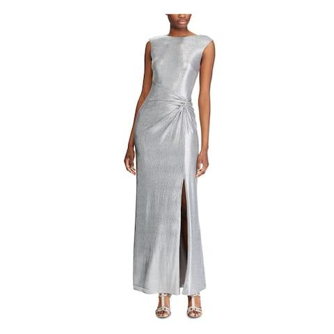 RALPH LAUREN Womens Gray Sleeveless Maxi Sheath Evening Dress Size 2