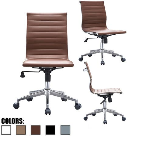 2xhome Brown Sleek Swivel Modern Style Adjustable PU Leather Office Chair Mid-Back Armless Ribbed Chair Conference Room No Arms