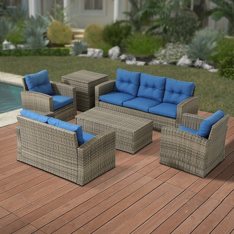 6-Piece Outdoor Wicker Patio Sofa Conversation Set with Cushions