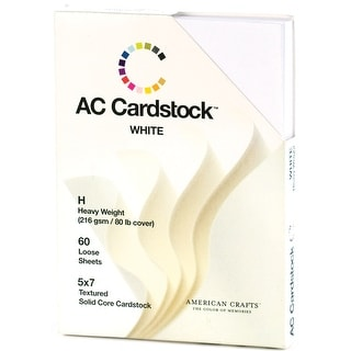 """American Crafts Textured Cardstock Pack 5""""X7"""" 60/Pkg-Solid White"""