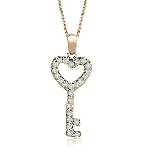 0.25 cttw. 14K Rose Gold Round Cut Diamond Small Key Pendant - White H-I