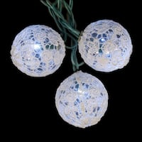Set of 10 LED Winter White Lace Ball Christmas Lights Set - Green Wire - CLEAR